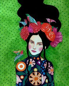 "green - woman with birds - ""best kept secret"" - watercolor on paper - illustration - Hülya Özdemir"