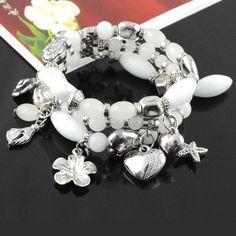 Multi Rows Elastic White Resin Beads Vibrant Pendant Costume Bracelet, BR-848A