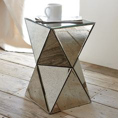 These would look amazing in my living room, side by side, instead of a coffee table Faceted Mirror Side Table | west elm