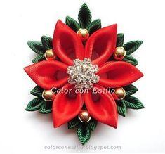 1 million+ Stunning Free Images to Use Anywhere Kanzashi Tutorial, Ribbon Flower Tutorial, Ribbon Art, Ribbon Crafts, Flower Crafts, Christmas Hair Bows, Christmas Ornament Crafts, Christmas Crafts, Cloth Flowers