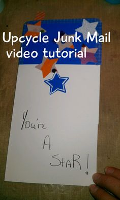 A card made with upcycled junk mail. Participate by uploading your version.