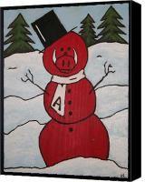 Arkansas razorback snowman!