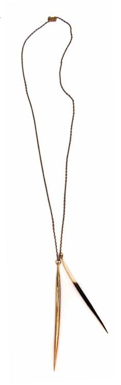 Brass and porcupine necklace from killer collection.  I'm obsessed!
