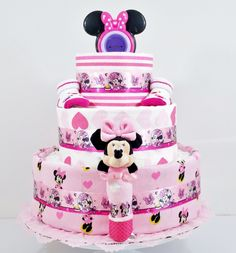 Beautiful Bows Minnie Mouse Baby Diaper Cake - As Your Baby Grows Gift Boutique - 1
