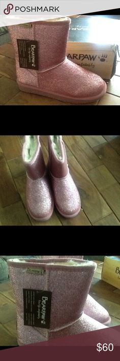 New Bear Paws pink glitter boots. Beautiful brand new Bear Paws pink glitter boots.  Perfect for the little girl that needs bling. BearPaw Shoes Boots