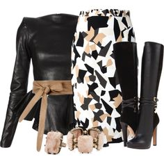 A fashion look from January 2014 featuring Plein Sud blouses, Givenchy skirts y Dsquared2 boots. Browse and shop related looks.
