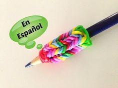 Adaptator de Lapiz - Con Rainbow Loom y las gomitas de pulsera. Video En Español!