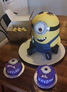 Minion themed birthday cake for twin boys, with smash cakes and mini-minion cupcakes. velvetskybakery.com   #minion #minions #despicableme #fondant #cake #smash #cakes #birthday #cupcakes