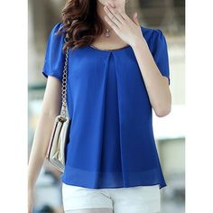 Simple Scoop Neck Short Puff Sleeve Solid Color Chiffon Women's Blouse, SAPPHIRE BLUE, 3XL in Blouses | DressLily.com