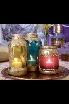 Arabian Centerpieces | Moroccan jars - centerpieces. maybe party favors? buy glass and gold ...