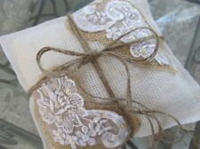~VERY SWEET  BURLAP & LACE RING BEARER PILLOW~RUSTIC, ELEGANT & SHABBY CHIC~