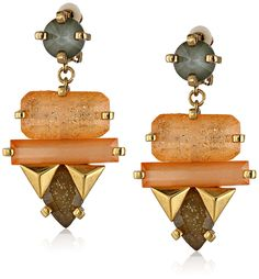 Erickson Beamon Rocks Large Multi-Stone Drop Clip-On Earrings. Gold-plated earring with round bead at post and suspended cluster of geometric stones and studs. Clip-on back. Imported.