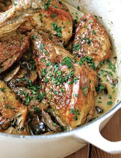 Chicken and mushroom casserole with cider recipe from River Cottage Every Day by Hugh Fearnley-Whittingstall | Cooked