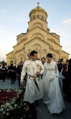 The wedding was celebrated on the day Georgians commemorate King David the Builder, who ruled from 1089 to 1125 and is revered as the country's greatest king.