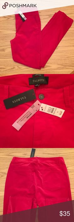 "NWT Super Soft Talbots Heritage Pants in Red These pants ""sit comfortably at waist, straight through the hip and thigh"". They're very soft! There is some flattening of the fabric on the back of one of the legs from being folded.  ⭐️Same or next day shipping ⭐️I love offers! ❤ ⭐️15% off a bundle of 3+ items ⭐️Additional pictures or measurements upon request Talbots Pants Straight Leg"