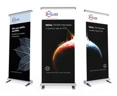 These pull-up banners for Bioline Reagents Ltd. are used at local, national and international exhibitions and trade shows. Their design aligns perfectly with the exhibition posters.