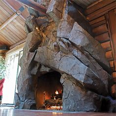 Parting Shot: Big, Bigger, Biggest! Outdoor Stone Fireplaces, Rustic Fireplaces, Home Fireplace, Fireplace Surrounds, Fireplace Design, Fire And Stone, Brick And Stone, Fire Pit Gallery, Houses Of The Holy