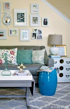Red, White, and Blue Living Room Decor - Up to Date Interiors Recycle your own decor!