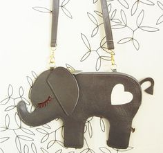 Large Peanut the Elephant Vintage Inspired Grey Vinyl por Cuore, $48.00