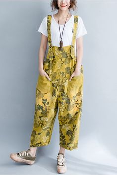 Yellow Denim Loose Casual Overalls Women Clothes
