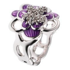 CIRO Jewelry Traviata white gold flower ring. White CIROLIT stones. Lilac enamel. Available in multiple ring sizes. White gold plated.