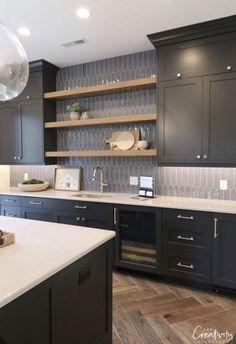 New dark wood kitchen decor benjamin moore Ideas Grey Kitchen Cabinets, Painting Kitchen Cabinets, Kitchen Backsplash, Kitchen Countertops, Navy Cabinets, Kitchen Shelves, Granite Sinks, Metal Cabinets, Backsplash Design