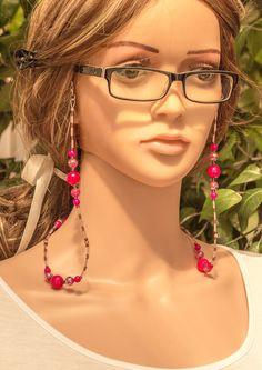 Diy Jewelry, Beaded Jewelry, Pink Eyeglasses, Fashion Beads, Neck Chain, Eyeglass Holder, Handmade Beads, Hot Pink, Store