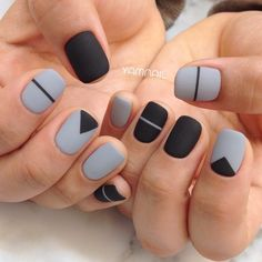 If you are looking for cute, simple nail designs, look no further. If you enjoy striped nails, then you are in for a treat. The artist took striped nails to the next level by adding a cute bow tie on Dark Color Nails, Purple Nail, Nail Colors, Matte Gray Nails, Gray Nail Art, Neutral Nails, Stripe Nail Art, Nail Art Diy, Short Nail Manicure