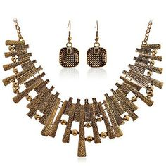 Lureme Alloy Geomatric Bar Earrings Necklace Jewelry Set   - USD $ 5.99