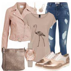 Toller Look aus T-Shirt mit Vogelprint, Budapester Schuhen in Roségold und einer rosa Lederjacke... #fashion #fashionista #inspiration #mode #kleidung #bekleidung #damen #frauen #damenkleidung #frühling #frühjahr #frauenoutfits #damenoutfits #outfit Denim Fashion, Look Fashion, Fashion Outfits, Womens Fashion, Mode Outfits, Casual Outfits, Mode Ab 50, Looks Jeans, Gold Outfit