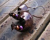 Fold formed copper and sterling silver seed pod earrings with freshwater pearls