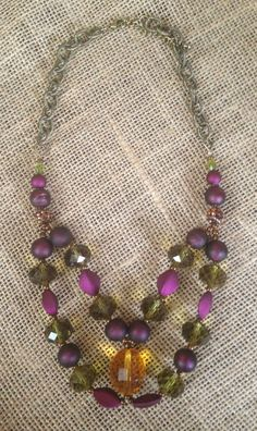 Purple Green Honey-Amber and Bronze Glass by PeacocksandLeopards $37