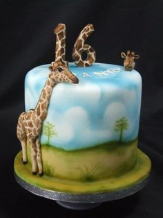 A cake for the son of close friends, who has had an obsession with giraffes since a visit to a local zoo over a year ago. One of the giraffes is called Hannah. When it was first cut we weren't allowed to touch the giraffes and had to cut a section...