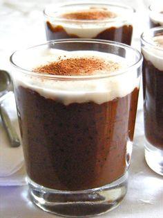 Chocolate sago pudding with coconut custard
