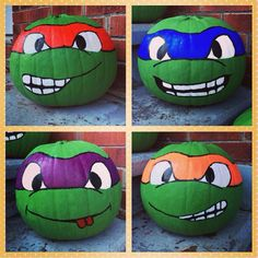 Teenage Mutant Ninja Turtle pumpkins! Copycatted these kick-butt pumpkins from another post. Love them!
