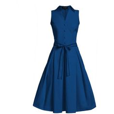 Rumour London - Venice Navy Satin Cotton Belted Flared Dress ($265) ❤ liked on Polyvore featuring dresses, blue pleated dress, cotton dresses, summer dresses, fitted tops and navy summer dress