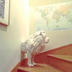 Lion papercraft (both halfs). You get a PDF digital file templates and instructions for this DIY (do it yourself) modern paper sculpture. by SofsPaperPlanet on Etsy 3d Origami, Oragami, Origami Frog, Crafts For Girls, Diy And Crafts, Arts And Crafts, 3d Paper Crafts, Diy Paper, Low Poly