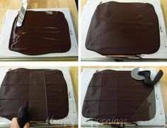 How to spread chocolate into a thin layer and cut it into squares