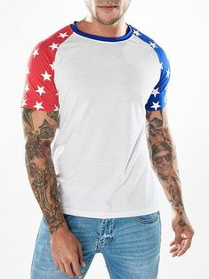 6c864a812 Two-tone Star Print Sleeves Tee Shirt - White - M