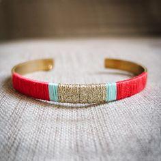Bracelet Manchette INCA tissée rouge