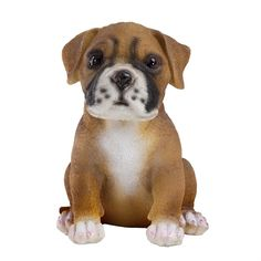 Buster the Realistic 15cm Sitting Boxer Puppy Polyresin Garden Ornament