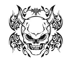 demon coloring pages | Tribal Skull - Demon