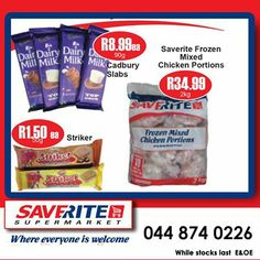 More terrific savings from Saverite Supermarket York Street. Check out the price on our IQF chicken selling at only R34.99 while stocks last. We buy right so that you can Saverite! #specials #supermarket #groceries