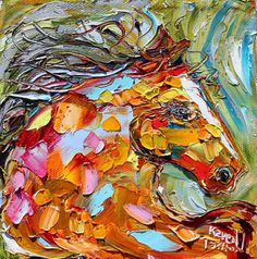 Original Equine Horse palette knife painting oil by Karensfineart