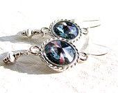 Swarovski Blue Crystal Rivoli Earrings, Crystal Titan Earrings, Sterling Silver Earrings, Handmade Jewelry Gift For Her