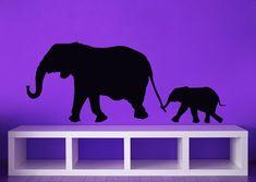 Elephants, Mom, Dad, Baby, Family - Decal, Sticker, Vinyl, Wall, Home, Nursery, Kid's Bedroom Decor.