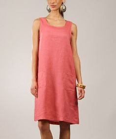 851f88f741b Eva Tralala Pink Linen Scoop Neck Sleeveless Dress