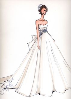 Custom Bridal Illustration.  Do this for yourself or do one of each of your Bridesmaids as gifts.