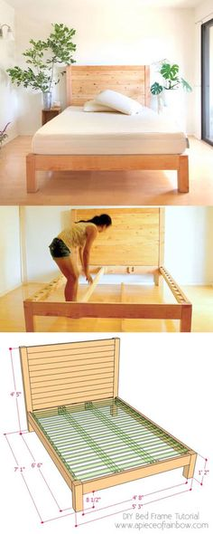 to build a beautiful DIY bed frame & wood headboard easily. Free DIY bed plan & variations on king, queen & twin size bed, best natural wood finishes, and lots of helpful tips! - A Piece of Rainbow Bed Frame Plans, Bed Frame And Headboard, Diy Bed Frame, Wood Headboard, Diy Queen Bed Frame, Full Bed Frame, Simple Wood Bed Frame, Solid Wood Bed Frame, Fabric Headboards