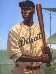 "Kadir Nelson, illustration of Norman ""Turkey"" Stearnes, Detroit Stars, from Nelson's book ""We Are the Ship."""